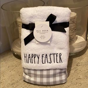 "Rae Dunn ""Happy Easter"" set of 2 hand towels."